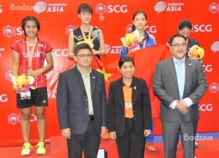 Asian Junior girls' singles medallists: Gregoria Mariska (INA, silver), Chen Yufei (CHN, gold), Gao Fangjie (CHN, bronze), Kim Ga Eun (KOR, bronze)