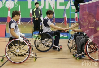 WH1-2 Men's Doubles finalists: Kim Jung Jun / Lee Sam Seop (KOR; gold), Choi Jung Man / Kim Sung Hun (KOR; silver)