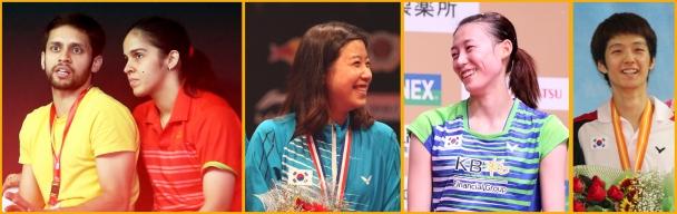 From left: Parupalli Kashyap & Saina Nehwal, Bae Yeon Ju, Kim Ha Na & Rho Ye Wook