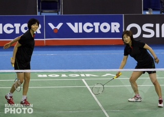 Ra Kyung Min and Gil Young Ah playing an exhibition match