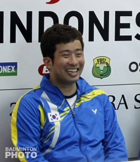 Jung Jae Sung smiling after his last international title, the 2012 Indonesia Open