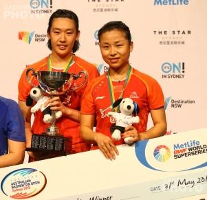 2015 Australian Open champions Tang Yuanting and Ma Jin
