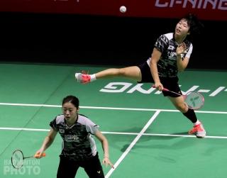 Kim Hye Rin and Baek Ha Na in action at the 2018 Fuzhou China Open