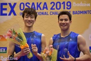 Shin Baek Cheol / Ko Sung Hyun (KOR) after winning the 2019 Osaka International Challenge