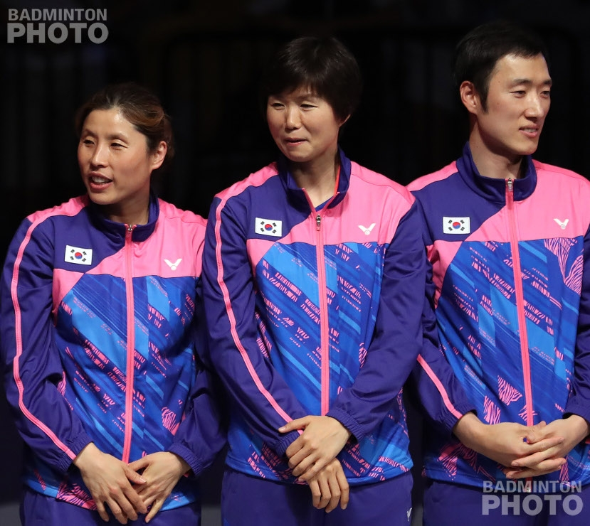 Kim Ji Hyun, Ra Kyung Min, and Park Tae Sang at the 2017 Sudirman Cup