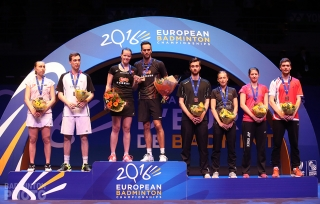 European Championships 2016 Mixed Doubles Podium