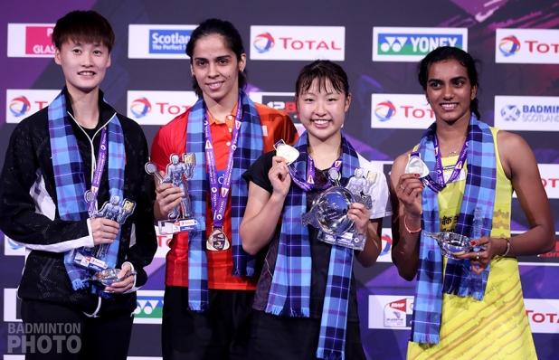 Chen Yufei (CHN), Saina Nehwal (IND), Nozomi Okuhara (JPN), P. V. Sindhu (IND)