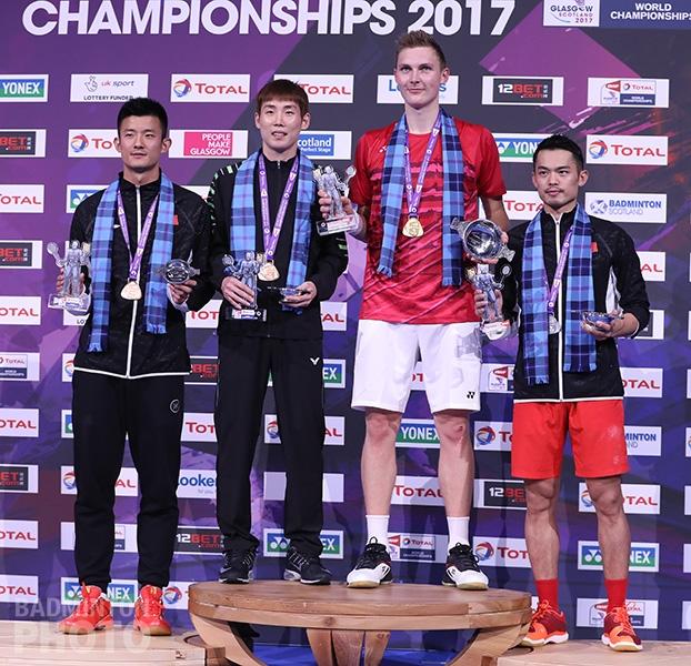 Chen Long (CHN), Son Wan Ho (KOR), Viktor Axelsen (DEN), Lin Dan (CHN)