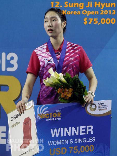12. Sung Ji Hyun - 2013 Korea Open, $75,000