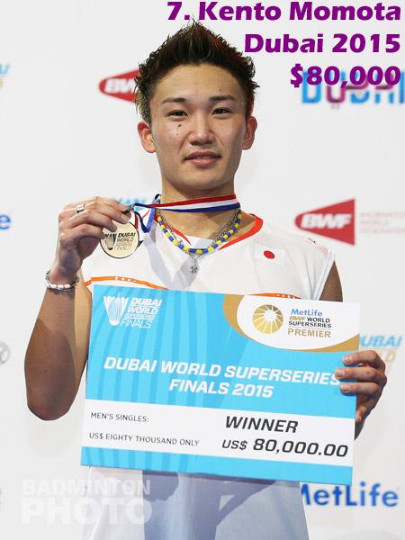 7. Kento Momota - 2015 Superseries Finals, $80,000