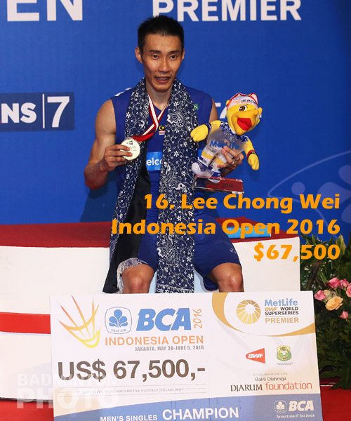 16. Lee Chong Wei - 2016 Indonesia Open, $67,500