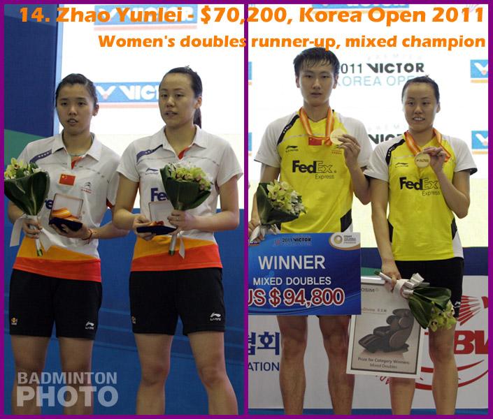 14. Zhao Yunlei - 2011 Korea Open, $70,200