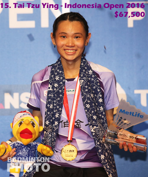 15. Tai Tzu Ying - 2016 Indonesia Open, $67,500