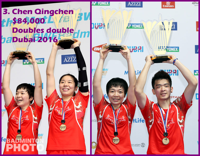 3. Chen Qingchen - 2016 Superseries Finals, $84,000