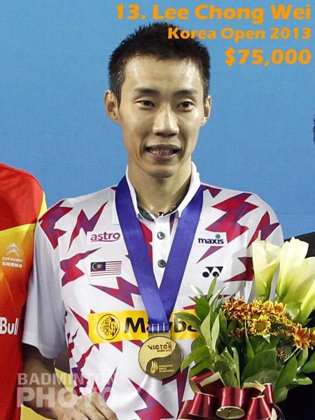 13. Lee Chong Wei - 2013 Korea Open, $75,000