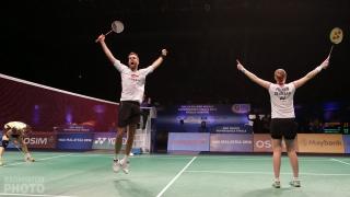 Christinna Pedersen winning half of her doubles double at the 2013 Superseries Finals, with Joachim Fischer-Nielsen