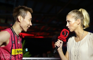 Camilla Martin interviewing Lee Chong Wei at the 2014 World Championships