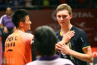 Chen Long of China, having beaten Denmark's Viktor Axelsen 21-18, 30-29 at the 2015 World Championships