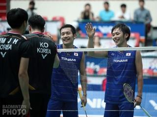 Keigo Sonoda and Takeshi Kamura, after beating Kim Jae Hwan and Ko Sung Hyun 29-30, 21-19, 21-9