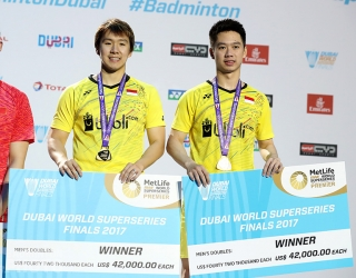 Marcus Fernaldi Gideon / Kevin Sanjaya Sukamuljo at the 2017 Superseries Finals