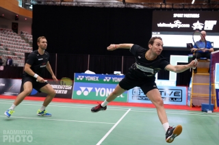 Mads Conrad-Petersen (left) and Mathias Boe at the 2019 Canada Open