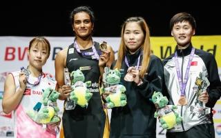 2019 World Championships women's singles podium