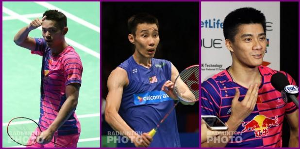 4-time Olympians (from left): Lin Dan (CHN), Lee Chong Wei (MAS), Fu Haifeng (CHN)