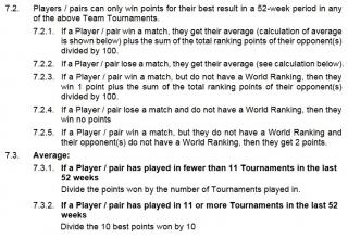 BWF Regulation 7.2 - Team event ranking points