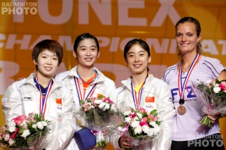 The women's singles podium at the 2010 World Championships