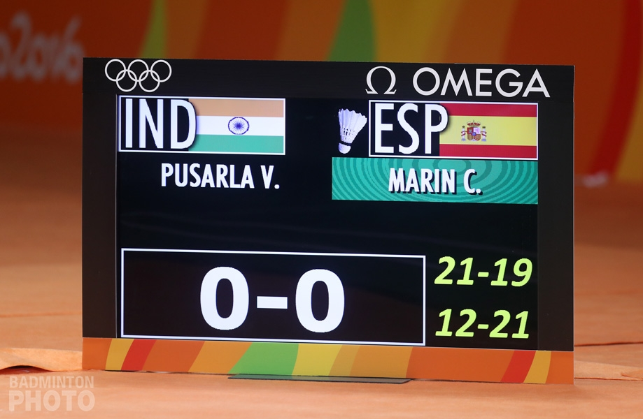Scoreboard before Game 3 of the women's singles gold medal match at the 2016 Rio Olympics