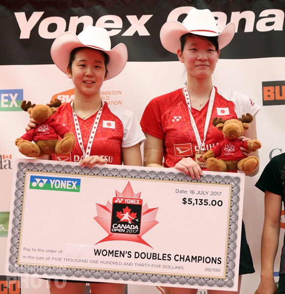 Canada Open 2017 women's doubles champions Wakana Nagahara / Mayu Matsumoto