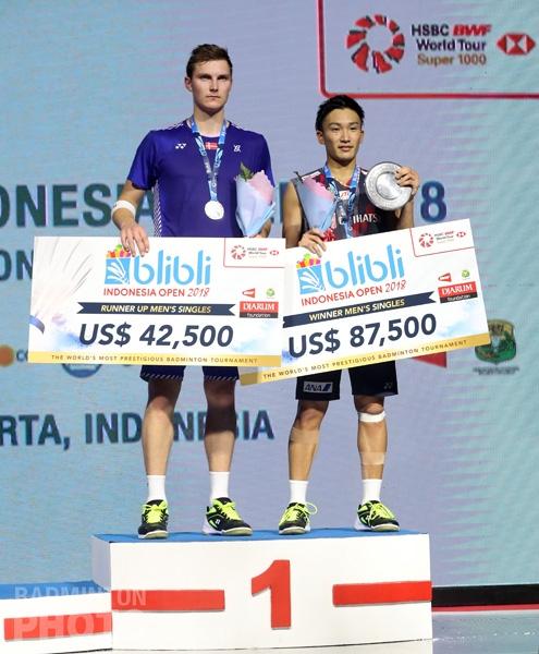2018 Indonesia Open men's singles podium