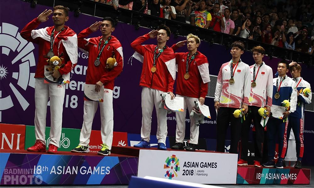 2018 Asian Games men's doubles podium