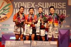 2019 India Open women's doubles podium