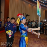 China's Zheng Siwei and Chen Yufei make their entrance at the Welcome Dinner preceding the 2019 Sudirman Cup