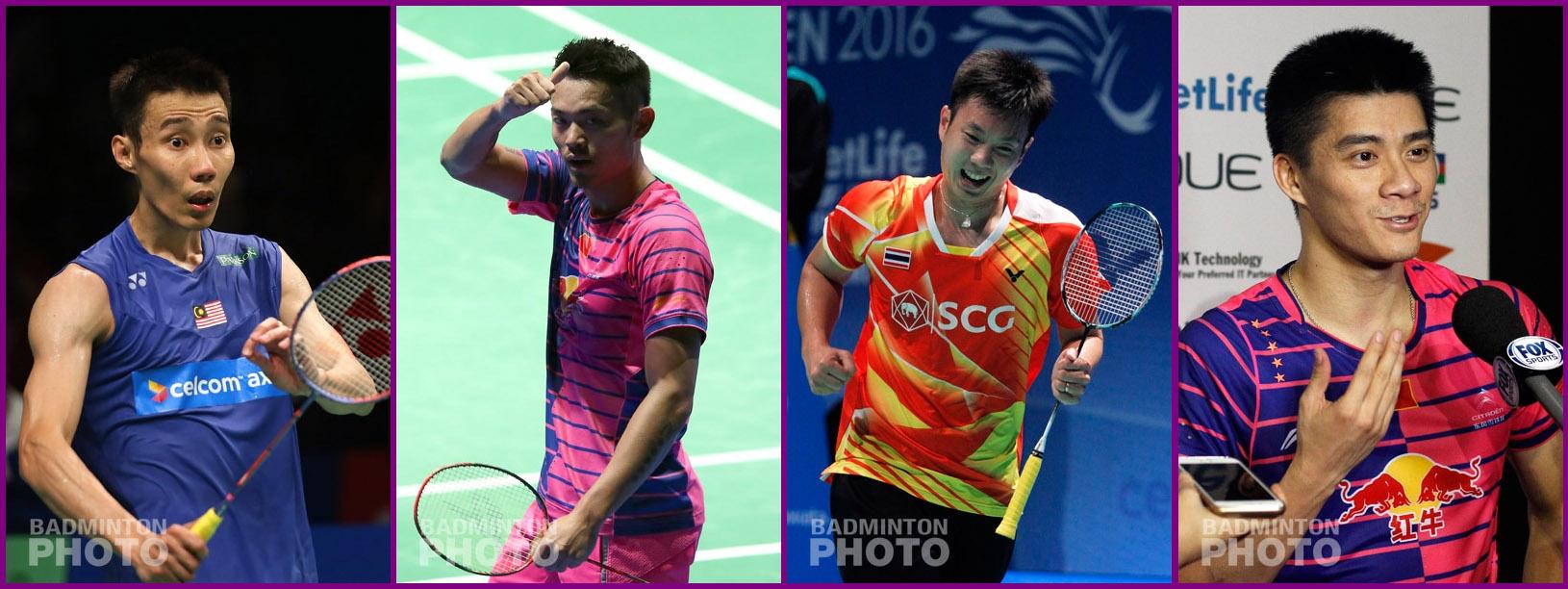 4-time Olympians (from left) Lee Chong Wei (MAS), Lin Dan (CHN), Boonsak Ponsana (THA), Fu Haifeng (CHN)