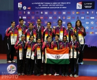 Team India accepting their bronze medals at the 2014 Uber Cup Finals