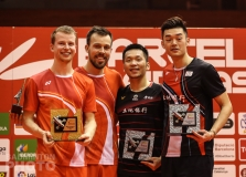 2020 Spain Masters men's doubles podium (from left): Kim Astrup / Anders Skaarup Rasmussen (DEN, gold), Lee Yang / Wang Chi Lin (TPE, silver)