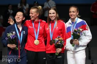 2019 European Games women's singles podium: Kirsty Gilmour, Mia Blichfeldt, Line Kjaersfeldt, Evgeniya Kosetskaya