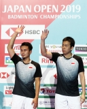 Mohammad Ahsan (left) and Hendra Setiwan  at the Japan Open