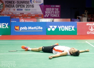 Kento Momota, upon winning the 2016 India Open