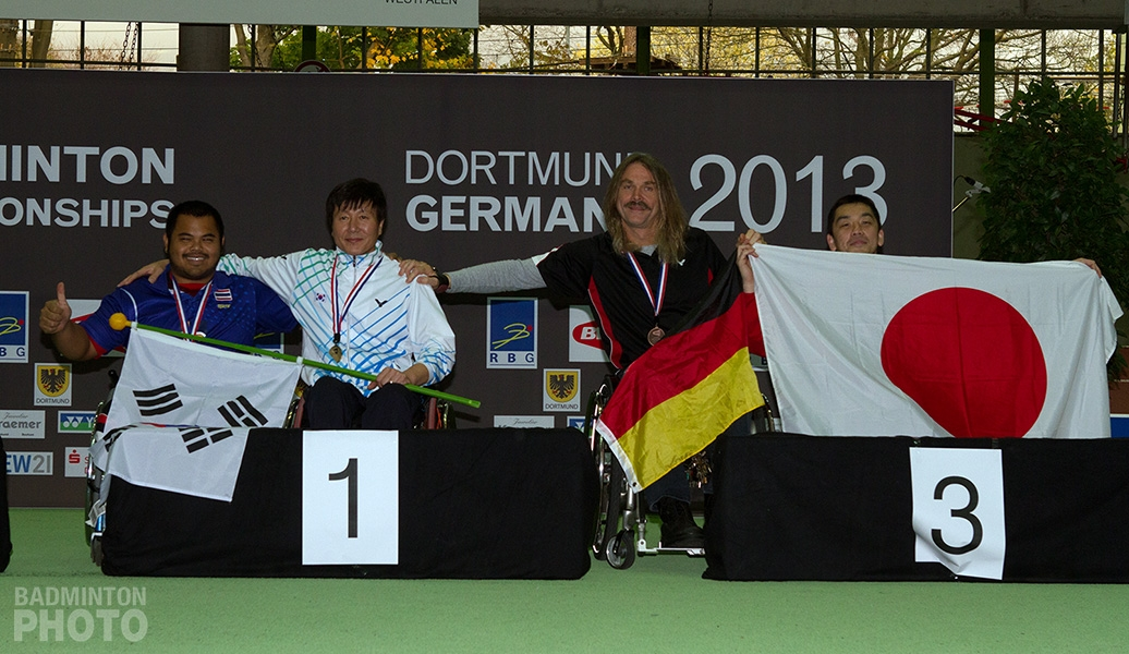 Men's singles podium at the 2013 World Para-Badminton Championships
