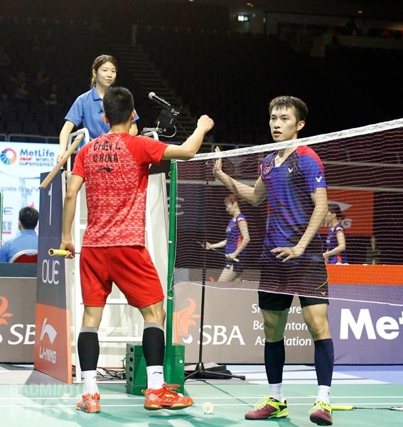 Ng Ka Long after beating Chen Long - 2016 Singapore Open QF