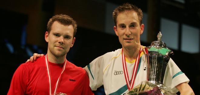 پیتر گید و ران اولسینگ بعد از کسب جامهای خود در رقابتهای قهرمانی دانمارک