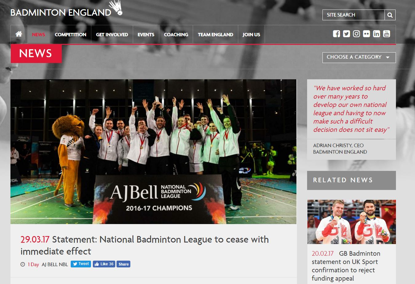Badminton England announced today that its National Badminton League will not be played next year, in what seems to be a consequenceof the funds being cut from UK Sport. The […]